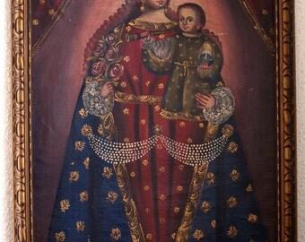 Cuzco School Virgin Mary and Infant Jesus Oil Painting La Escuela Cuzqueña Roman Catholic Art of Latin America Native American Art/842