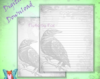 Raven Stationery, Crow Stationery, Unlined Stationery, Lined Stationery, Stationery Page, Book of Shadows, Book of Shadows, Grimoire Page