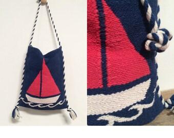 Handwoven Cross body Greek Messenger Bag • Hobo Bag • Nautical Shoulder Bag • Sailboat Bag