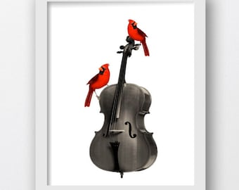 Red Cardinal Vintage Cello Print, Music Room Art Prints, Music Room Wall Art, Vintage Cello, Red Cardinal Bird Prints, Red Cardinal Clip Art
