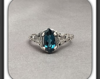 Natural London Blue Topaz Filigree Art Deco Style Ring in Sterling Sliver, Anniversary Ring