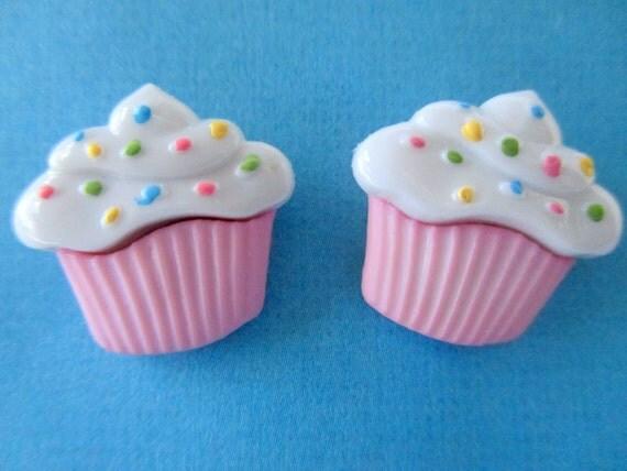Pink cupcake earrings-Girls cup cake earrings-Childrens Cupcake studs-Kids clip on earrings-Sprinkles-food jewelry-little girls-party favors