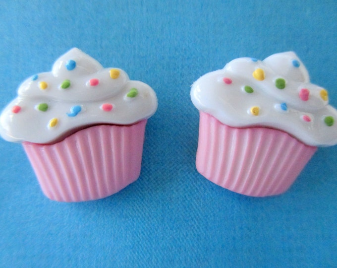 Pink cupcake earrings-Girls cup cake earrings-Childrens Cupcake studs-Kids clip on earrings-Sprinkles-food jewelry-little girls-party favors