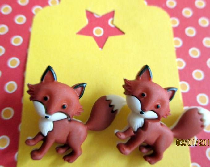 Fox earrings-fox studs-Fox jewelry-Animal Earrings-woodland jewelry-kids-childrens-story book-fox posts-teen gifts-tween-clip on earrings