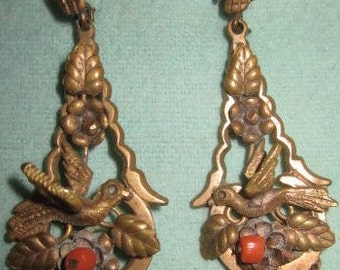 Victorian Steampunk dangle bird and feather earrings