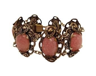 Vintage Pink Art Glass Mixed Metal Bracelet
