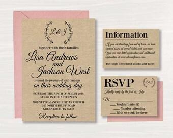 Printable Wedding Invitation - Rustic - Wedding Invitation - Digital   - (7)