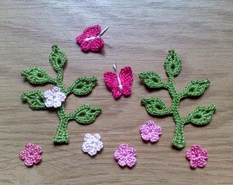 Set of Small embellishments Flower Applique Leaf embellishments