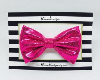 Pink Metallic Hair Bow, Magenta Pink Hair Bow
