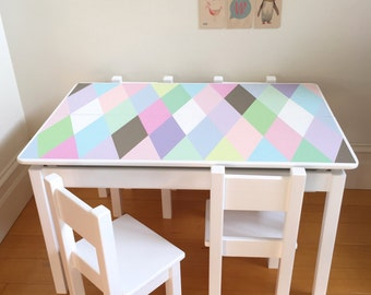 Desk and Chair Set - Harlequin Design, Girls Desk and Chair Set, Table and Chair Set, Children's Furniture, Play Table, Childs Table, Pastel