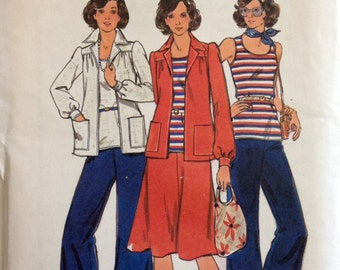 Butterick 4173 - 1970s Stretch Knit Separates Tank Top Flared Pants or Skirt and Notched Collar Jacket - Size 16