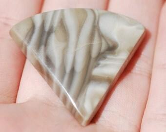 Figured Jasper, Cabochon, White, Tan and Gray, Triangle, 35 x 32mm, C4404