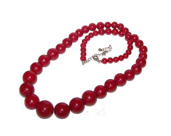 Red Necklace - Long Dark Red Graduated Bead Strand Necklace - Maroon