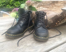 Vintage 90s Doc Martens / Soft Black Leather Combat Boots / Made in England / Women's Size 5-6