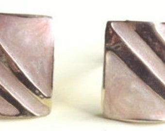 1980's AVON square/-shaped(worn as diamond-shaped) gold-col.metal+ pinkish/peachy col.enamel/simil.CLIP EARRINGS-One owner. Excellent cond.