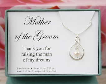 Gift for Mother of the Groom gift thank you for raising the man of my dreams silver necklace wedding party gift for grooms mother from Bride