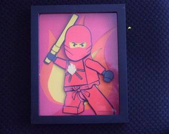 Lego Ninja - 3D Papercraft - Shadowbox