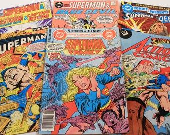 6 Vintage Superman Comics 1970s 1980s Supergirl The Demon Firestorm Captain Atom Blue Devil RARE Whitman Variants Clark Kent DC Presents