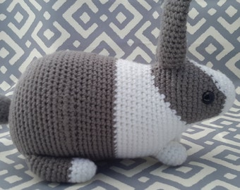 Crochet  Dutch bunny grey and white (Ready to ship )