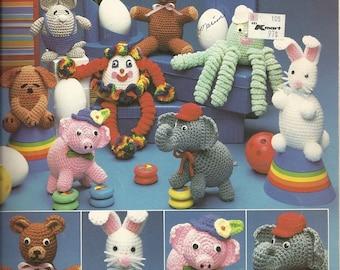 Carefree Creatures Crochet Pattern Leaflet 8 Animals Leisure Arts 306 Mouse Octopus elephant clown