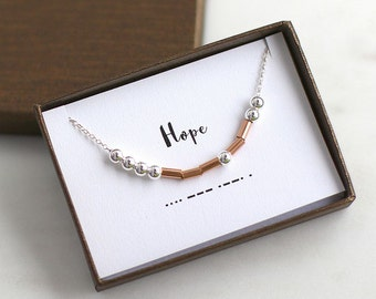 Morse Code Necklace, Hope Morse Code Necklace, Word Morse Code Necklace, Morse Code Jewelry, Inspirational Necklace, Secret Message Necklace