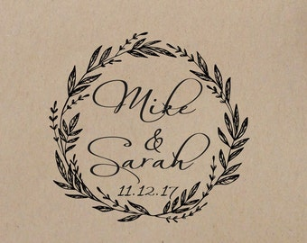 Wedding  Stamp Wreath Personalized Wedding Stamp Initials  Wedding Rubber Stamp Mounted with Wood Handle SelfInking Stamp