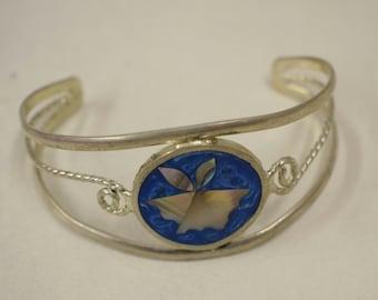 Bracelet Silver Wrist Cuff Round Aqua Shell Mother Pearl Flower Vintage Enamel Bracelet Handmade Silver Aqua Enamel Shell Cuff Bracelet