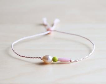 Dainty summer bracelet / light pink pearl and coral silk thread bracelet / friendship bracelet / dainty jewelry