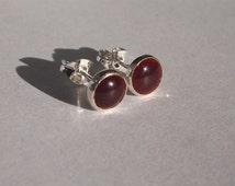 Silver Earring, enamel earrings, silver studs with cherry enamel, handmade stud earrings