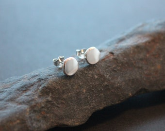 "Solid silver stud earrings. Recycled sterling silver post earrings.  ""Glacial Pools Stud Earrings"" (8mm)"