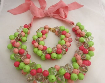Stunning Moschino Resin Lime and Pink Resin Necklace Bracelet Set