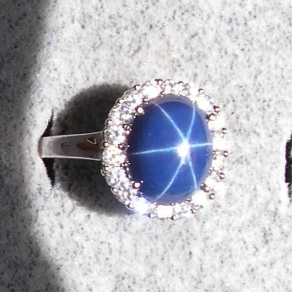 Vintage Signed Linde Lindy Cornflower Blue Star Sapphire