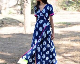 Indigo rush Shibori gown