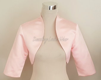 Light Pink Satin Bolero / Shrug / Cropped Jacket Fully Lined - UK 4-26/US 1-22 3/4 Sleeves - Formal/Wedding/Bridal