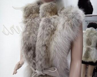 NEW! Natural,Real Fox Fur Vest with Leather!!! Новая жилетка из лиси!