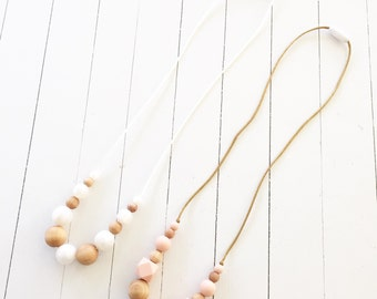 Silicone Teething Necklace for Mom - Nursing + Babywearing Distraction - Blush or Pearl BPA free Chew Beads - Natural Wood Beads - Gift