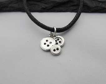 Button Choker, Button Choker Necklace, Black Cord Necklace, Button Necklace, Charm Choker, Sewing Necklace, Sewing Gifts,Button Gift,Buttons