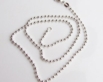 Vintage 925 Sterling Silver Bead Chain Necklace