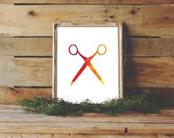 Scissors Art Print, Wall Art, Digital Download, Salon Print, Scissors Art, Minimalist Art, Hair salon Art, Hair Stylist Decor, Instant Print
