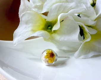 Orb / earring / yellow / Babys Breath, Pressed Flowers Natural Dried Flower, Stud, Real Flower Earring, Terrarium Jewelry, gift for her