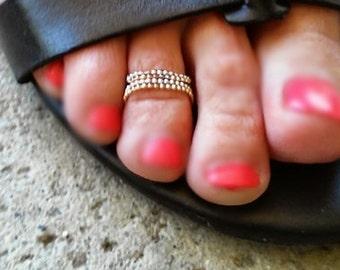 14k Solid Gold Diamond Cut Bead Toe or Finger Ring, 14k Solid Gold Bead Chain Ring, Stackable 14k Gold Toe Ring, 14k Solid Gold Finger Ring
