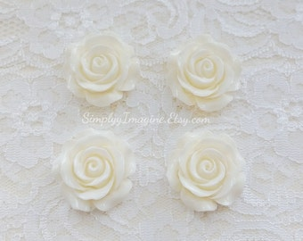 White Peach Rose Flower Cabochons Resin Flatback Roses Medium Scrapbook Supplies - 4 PCS - 30mm