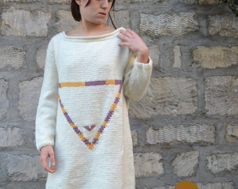 UNIQUE PIECE! Long hand-knitted sweater/jacket