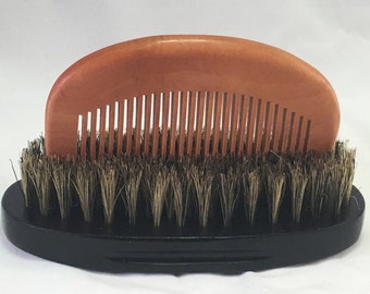 Beard Grooming Natural Boar Bristle Beard Brush + Wood Comb Set