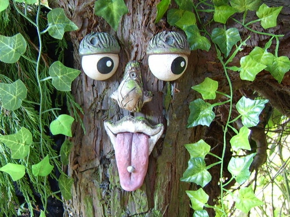Tree Face With Studded Tongue Statue Sculpture Handmade