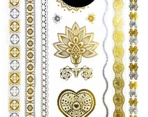 Vintage Metallic Temporary Tattoo Gold Silver Festival Beach Holiday Gift Present Birthday Anniversary Jewellery Accessories