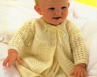 """baby matinee coat knitting pattern PDF baby matinee jacket lacy cardigan 19-20"""" DK light worsted 8 ply baby knitting pattern pdf download"""