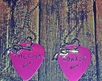 Thelma and Louise Hand Stamped Pink Guitar Pick Necklaces Best Friends Gift Set