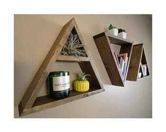 Triangle Shelf - Modern Geometric Shelves - Triangle Shelf - Wood Pyramid Floating Shelf   - Plant Shelf - Succulent Shelf - Set of Three