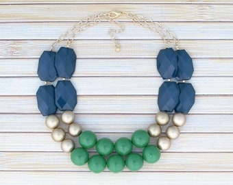 Double Row Statement Necklace - Green & Navy Stone Collar Necklace - Large Oversize Ball Bead Necklace - Birthday Jewelry Gift under 30